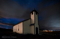McDougall Church at night, near Morley Alberta