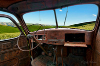 11Aug2012This was shot during a photo workshop with Jack Lien in the Palouse, Washington in the spring of 2012.The rolling hills of the Palouse, Washington as seen from the inside of an abandoned Inte